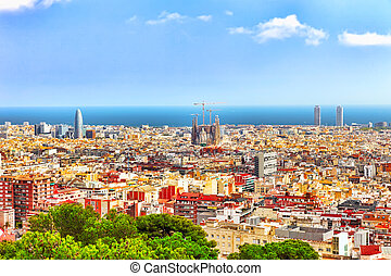 Panorama on Barcelona city from Montjuic castle.Catalonia....