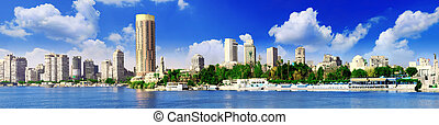 Panorama on Cairo, seafront of Nile River. Egypt. - Panorama...