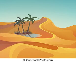 Panorama or landscape of desert with oasis - Landscape of...