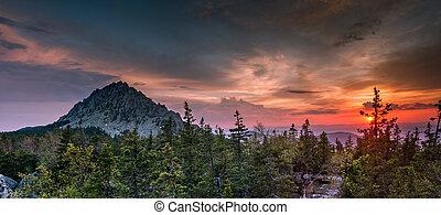 panorama, otkliknoy, coucher soleil, crête