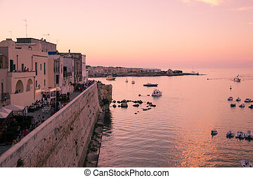 panorama, otranto, sunset.