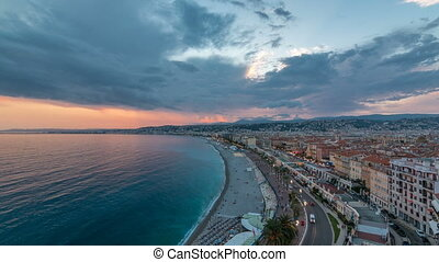 Panorama over Nice city and Mediterranean Sea aerial day to...