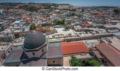 Panorama overlooking the Old city of Jerusalem timelapse, Israel, including the Dome of the Rock