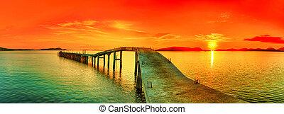 panorama, pôr do sol