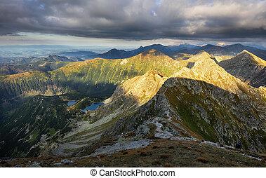panorama, paisagem, rohace, dramático, pôr do sol, montanha, eslováquia, tatras