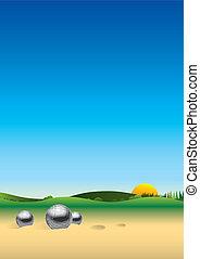 panorama, paisaje, petanque