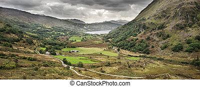 panorama, paisaje, snowdonia parque nacional, gales, reino...