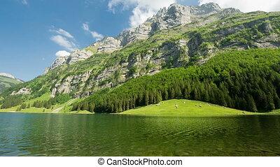 Panorama pan of mountains and lake