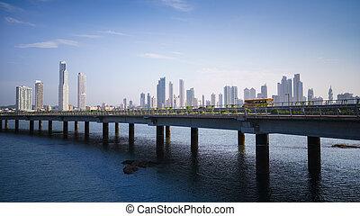 Panorama panama city skyline building car - Tourist ...