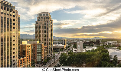 Panorama Panorama view of Salt lake City at sunset