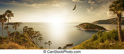 panorama - Panoramic view of nice tropic island during ...