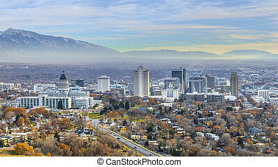 Panorama Panoramic view of the bustling downtown in Salt Lake City Utah
