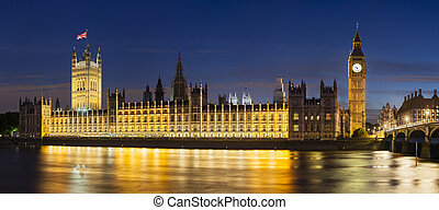 panorama, parlement, nuit, maisons