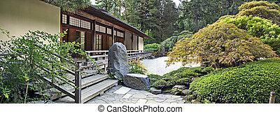panorama, paviljoen, tuin japanner