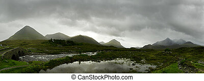 panorama, pays montagne, écossais