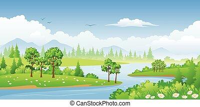 panorama, paysage, arbres, été