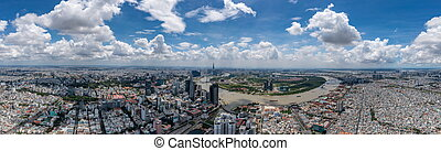 Panorama photo of Ho Chi Minh city in a cloudy day