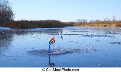 Panorama Pike fishing in winter. Winter tackle for pike fishing - zherlitsa