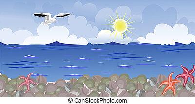 panorama, plaża, seagulls