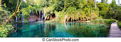 Panorama plitvice waterfall