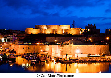 panorama, port, france, marseille, cathedral., nuit