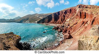 panorama, praia, santorini, vermelho
