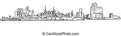 panorama, puerto, skylinie, hamburgo