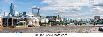 panorama, río thames, london.