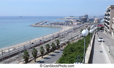 panorama railway and sea - panorama overlooking the road...