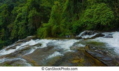 panorama, rainforest., thaïlande, chutes d'eau