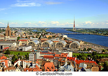 panorama, riga, vista