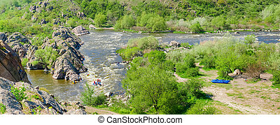 panorama, riva, fiume, roccioso, rapids