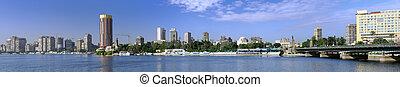 panorama, river., el cairo, nilo, seafront