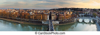 panorama, rome, ondergaande zon