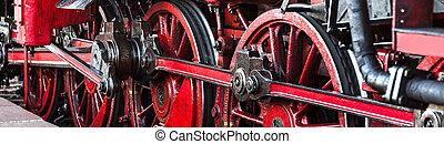 panorama, roues, train, vieux, vapeur