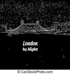 panorama, rys, londyn, sylwetka na tle nieba, noc