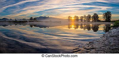 panorama, rzeka, odbicie