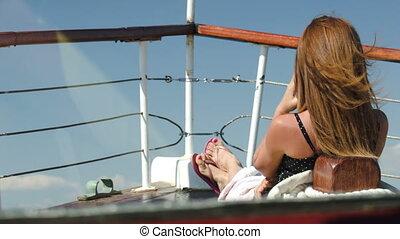 panorama, séance, femme, apprécier, pont