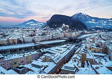 Panorama Salzburg during sunset in winter, Austria
