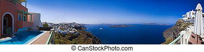 panorama, santorini, -, grécia