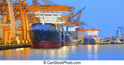 panorama scene of ship yard with heavy crane in beautiful ...