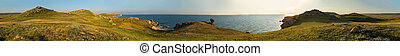 Panorama Sea of Azov at Karalar regional landscape park in the Crimea.