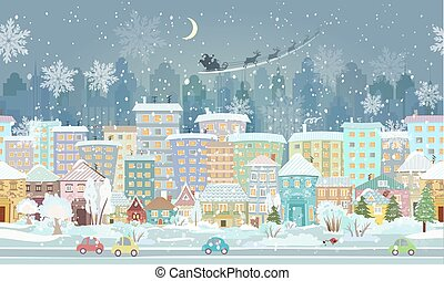 panorama. seamless border with a winter cityscape