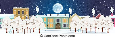 Panorama. Seamless border with winter cityscape. Snowy night in a cozy city.
