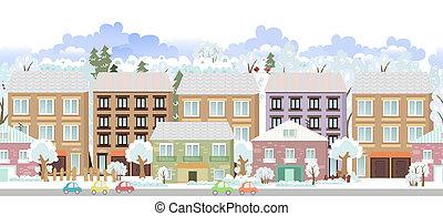 panorama., seamless, frontera, con, un, invierno, cityscape