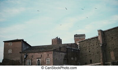 Panorama shows a light scene with an old brick castle and ancient ruins in the historical centre of Rome, Italy.