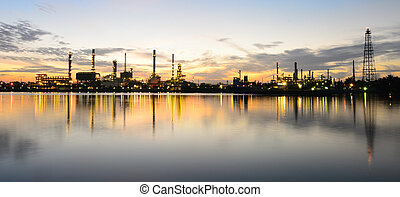 Panorama Silhouette Bangkok Oil refinery and its reflection.
