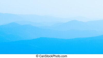 panorama, siluetas, cerros, montaña