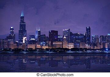 panorama, skyline, chicago