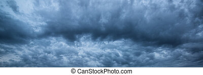 Panorama skyscape of dramatic stormy sky